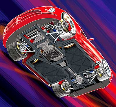 What Is Suspension In Car >> Automotive Technical Illustration, cut-a-way art, expolded