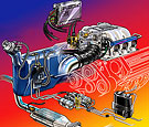 Automotive fuel system illustration for book cover