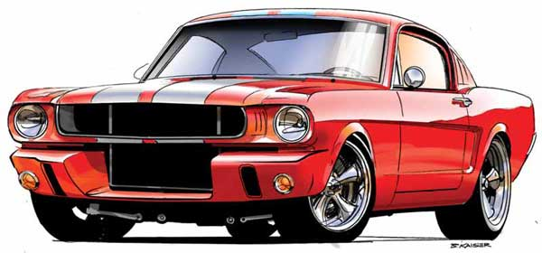 Concept art of muscle cars and