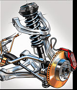 automotive technical Illustration, suspension system