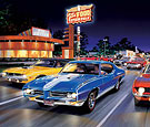 Woodward Avenue limited Edition print with Royal Pontiac GTO, Hemi-Cuda, and Nickey Camaro